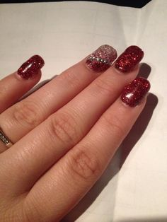 Christmas nails ✨  #nail #christmas #glitter #gel #rhinestones #inspo  -by me