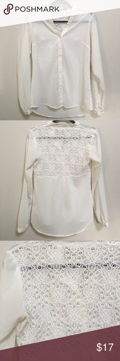 The Limited Lace Back Blouse Beautiful button up Blouse from The Limited. Gorgeous lace on upper back! Blouse is sheer and absolutely stunning! Color is ivory. The Limited Tops Blouses