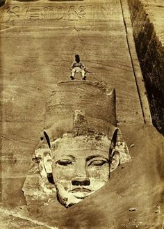 Westernmost Colossus of the Temple of Ra before sand was removed. 1850 by Maxime Du Champ (1822 - 1894)