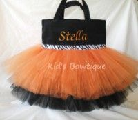 Halloween with style!!    Orange & Black with Zebra Ribbon Monogrammed Tutu Tote Bag - Item htb3