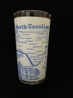 Vintage FROSTED NORTH CAROLINA Souvenir Drinking Glass Blue Graphics Federal