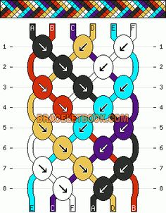 Friendship bracelet pattern - http://www.braceletbook.com/tutorial/2_arrow-bracelet-2.html