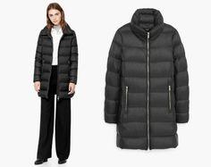 MANGO nowy pikowany płaszcz 100% puchowy TUSK M/38