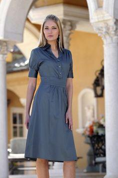Classic button down shirt dress...love modest dresses!