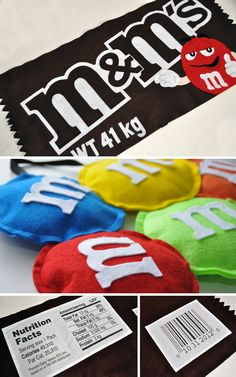 Felt Costume: Bag of m&m's Of the three costumes I made for Halloween, the m&m costume for my older daughter took me the longest to make. There were many pieces to trace, cut, and glue. Almost all of the pieces, includin… Food Pillows, Cute Pillows, Diy Pillows, Candy Pillows, Cushions, M&m Costume Diy, Costume Bags, Felt Crafts, Diy And Crafts