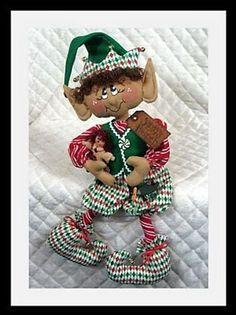 Christmas Elf Doll, Christmas Ideas, Christmas Ornaments, Primitive Folk Art, Cat Doll, Cat Pattern, The Elf, Digital Pattern, Halloween