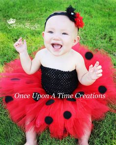 Little Ladybug Tutu or Dress - Newborn 3 6 9 12 18 24 Months 3T 4T 5 6 Halloween Birthday, Costume - Red & Black Lady Bug by OnceUponATimeTuTus on Etsy https://www.etsy.com/listing/160032663/little-ladybug-tutu-or-dress-newborn-3-6