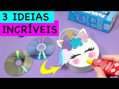 DIY - IDEIAS INCRÍVEIS do Lixo ao Luxo - Material Reciclável - Segredos de Aline - YouTube Crafts With Cds, Foam Crafts, Cute Crafts, Diy And Crafts, Christmas Gift Decorations, Birthday Party Decorations, Unicorn Birthday Parties, Unicorn Party, Diy Unicorn Bag