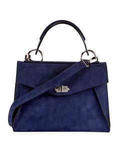 PROENZA SCHOULER Hava Medium Top-Handle Satchel Bag, Black, Blue. #proenzaschouler #bags #shoulder bags #hand bags #satchel #
