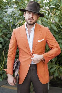 Men's Fashion | Menswear | Orange Blazer + Brown Pants | Nice Look for Spring/Summer Weddings | Moda Masculina | Shop at designerclothingfans.com