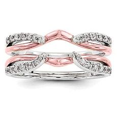 Size 3 to 15 in 1//4 Size Interval CZ Engagement Ring Jacket Mounted in Rose Plated Silver 0.24Ct