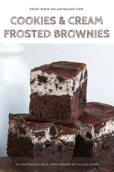 A simple brownie made fancy with chocolate ganache and oreo cookie frosting