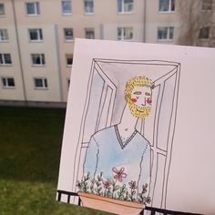 Always falling in love with my neighbour  #spring #weekend #window #berlin #guy #boy #love #romance #sweet #cute #colors #flowers #flirt #balcony #view #sketch #draw #drawing #weekend #illustration #neighbor #flat #house #garden #green #grass #crush #mood #mylife #erasmus by margauxgutmann