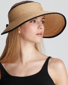 Helen Kaminski Mai Visor straw hat with black trim Newport, Beaver Hat, Helen Kaminski, Flat Hats, Raffia Hat, Outfits Mujer, Wearing A Hat, Green Hats, Visor Hats