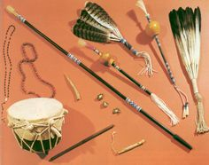 Native American drums, feathers etc