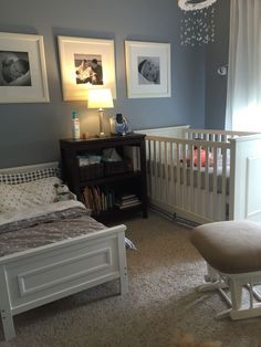 Shared nursery. Neutral room for toddler boy and baby girl.