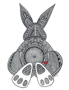 Black and White Zentangle Bunny Butt drawing by LimeGreenArtShop, $15.00