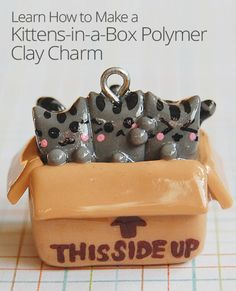 DIY Kittens-in-a-Box Polymer Clay Charm