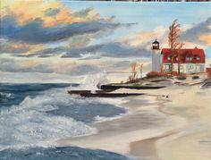 Point Betsie, Lake Michigan, Crystalia Michigan. Painting by Anne Rauschert