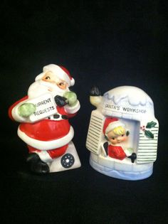 Vintage Santa and Elf Christmas Salt and Pepper Shakers