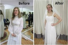 Wedding dress transformation - Come see how Laura turned her mom's vintage 1970s dress into a modern one for her own wedding!