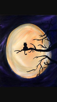 Huge moon and a little black kitty on the tree branch, beginner canvas painting idea.