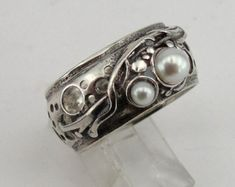 New Israeli Nets Handcrafted Sterling Silver pearl by hadarjewelry