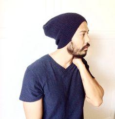 Slouch beanie hat Men's Winter clothes warm dark by MissTopKnot