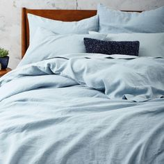 Belgian Flax Linen Quilt Cover + Pillowcases - Moonstone | west elm AU Beautiful colour.....