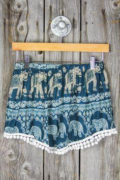 Pom Pom Shorts - Teal