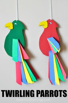 Colorful and fun twirling parrot craft for kids. Great bird craft for a jungle t… Colorful and fun twirling parrot craft for kids. Great bird craft for a jungle theme unit, fun kids crafts and jungle crafts for kids. Animal Crafts For Kids, Fun Crafts For Kids, Preschool Crafts, Projects For Kids, Art For Kids, Craft Projects, Arts And Crafts, Paper Crafts, Art Children
