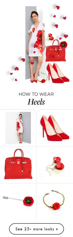 """RED HEELS"" by treasury on Polyvore featuring Ted Baker, Christian Louboutin, Hermès, red, redheels, poppy and Nikush"
