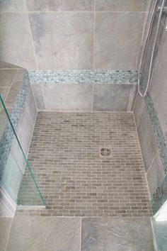 Barrier Free Shower Shower In Cool Blue Tile