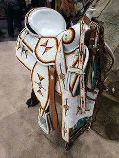 Saddle with beautiful beading. Native American Horses, Native American Moccasins, Native American Beauty, Native American Artifacts, American Indian Art, Native American History, Horse Mask, Trail Of Tears, Charro