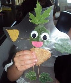 "Leaf People:  Make this craft after an outdoor scavenger hunt or a class ""hike."" I will do this with my first graders during our camp week at the end of the year. After they collect their nature items during the hike, we will return to the classroom where the kids will creature their ""leaf person/animal/creature"" and then they can write about their ""leaf friend""."