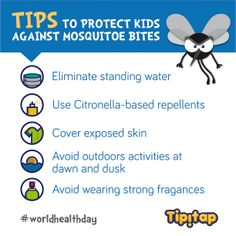 Today is World Health Day! Help us raise awareness about vector-borne diseases like malaria, dengue fever and yellow fever  by sharing this 5 tips that can help protect kids against mosquitoe bites  #worldhealthday
