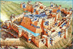 Cutaway panorama of Krak des Chevalier in 1271 featuring the siege of Sultan Baybars.