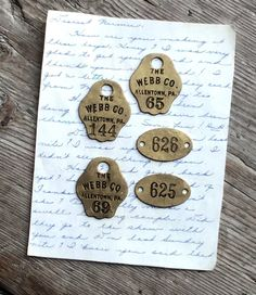 Vintage Brass Number Tags Jewelry Collage Industrial Salvage by GardenBarn on Etsy