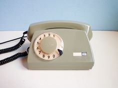 Vintage rotary telephone dial phone military green by EuroVintage, €48,00