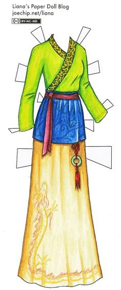 Colored Ruqun in Green, Blue and Yellow | Liana's Paper Dolls | I hope you don't mind the little addition of the dragon | Ruqun is an item of traditional Chinese attire (Hanfu, traditional dress of the Han Chinese people) primarily for women but also for men. It consists of a blouse (ru) and a wrap-around skirt (qun; also called chang).