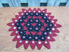 Primitive Wool Felt Folk Art Penny Rug Candle Mat Hearts and Teardrops | eBay