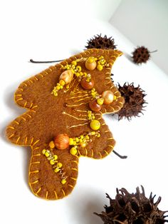 Quercus brooch wearable fiber art unique autumn beaded by Cesart64