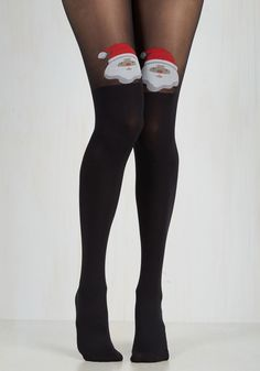 Round of A-Clause Tights. Looking as festive as can be in these eye-catching tights by Pretty Polly, your entrance is welcomed with animated cheers! #black #modcloth