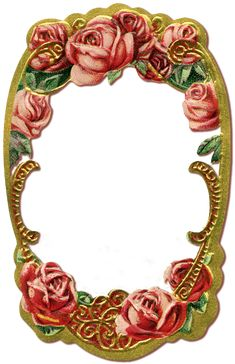 Wings of Whimsy: Gilded Rose Frame PNG file (transparent background) - free for personal use #vintage #edwardian #victorian