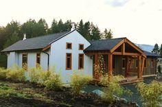 corrugated steel and cedar siding