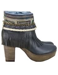 Boho Custom Made High Heel Boots - Black