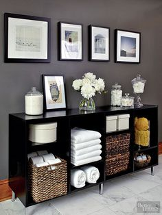 Visually lighten built-in or stand-alone cabinetry by utilizing open shelves. Towels, soaps, and glass canisters are perfect candidates for open shelving because they're decorative as well as functional. For storing personal items, cleaning supplies, and laundry, try woven baskets or decorative bins./