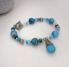 Blue crazy lace agate gemstone beaded bracelet with sparkly crystals, silver beads and genuine turquoise charm