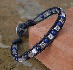 Navy Military Lapis Lazuli leather wrap healing by CrystalMeB