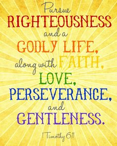 """""""Pursue righteousness and a godly life, along with faith, love, perseverance, and gentleness."""" - The Holy Bible, 1 Timothy 6:11."""